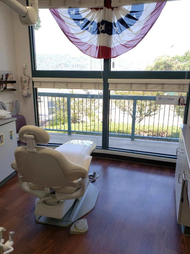 View of treatment room with amazing for to help patients relax during general dentistry treatment in Pleasanton, CA.